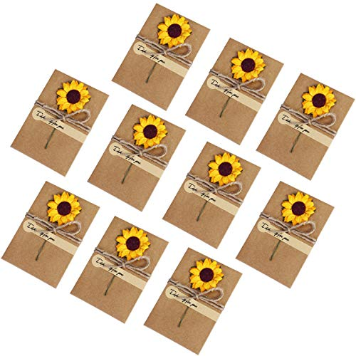 10 Pack Handmade Greeting Cards DIY Retro Kraft Blank Envelope Dried Sunflower Cards for Wedding Thank You Greetings Cards Note Valentine's Day Baby Showers Favors