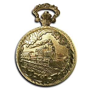 "Locomotive Conductor's Pocket Watch 14k Gold-tone Train 40mm Watch with 12"" Chain"