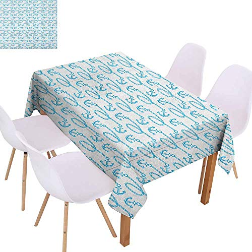 (Polyester Tablecloth Anchor Little Anchors with Chains Naval Loops Sailing Theme Cartoon Style Ocean Travel Washable Tablecloth W52 xL70 Pale Blue White Great for Buffet Table)