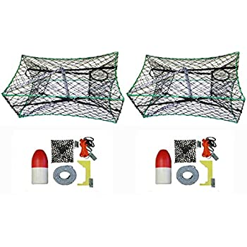 Image of 2-Pack of KUFA Galvanized Foldable Crab Trap & Accessory Kit (100' Lead CoreRope, Clipper,Harness,Bait Case & 14' Red/White Float) (S33+CAC3) x2 Fishing