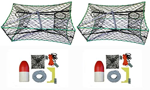 2-Pack of KUFA Galvanized Foldable Crab Trap & Accessory Kit (100' Lead CoreRope, Clipper,Harness,Bait Case & 14'' Red/White Float) (S33+CAC3)x2 by KUFA