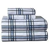 Pointehaven Heavy Weight Printed Flannel Queen Sheet Set, Plaid Blue