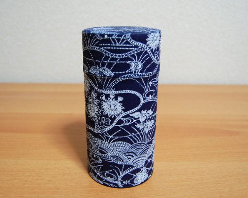 Ryu Mei Aizome Blue Japanese Tea Tin [Type 3] - Japanese Tea Canister