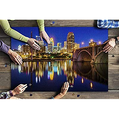 Minneapolis, Minnesota - The Central Avenue Bridge & Skyline Reflecting in The Mississippi River 9019246 (Premium 1000 Piece Jigsaw Puzzle for Adults, 20x30, Made in USA!): Toys & Games