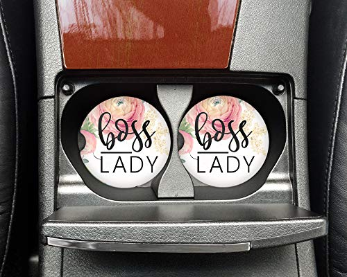 Boss Lady - Car coasters pink roses - Sandstone auto cup holder coasters - Motivational quote - Gifts for co-workers ()