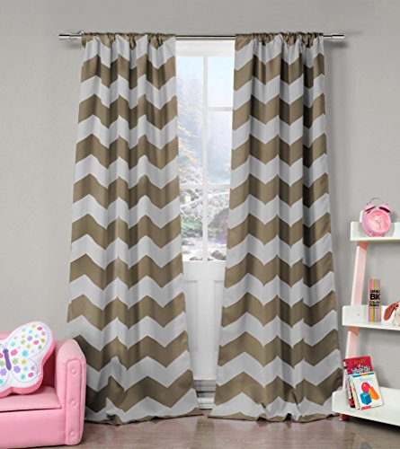 (Taupe and Grey Chevron Print Insulated Energy Saving Blackout Window Pole Top Curtains 37 inch Wide by 84 Long (Assorted Colors) Set of 2 Panel Room Darkening Drapes)