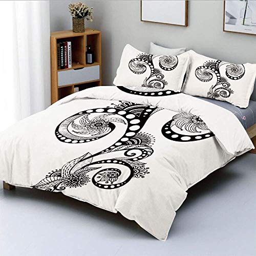 SINOVAL Mehndi Body Art Doodle in Black and White Abstract Floral Arrangement College Dorm Room Decor Decorative Custom Design 3 PC Duvet Cover Set Twin/Twin Extra Long