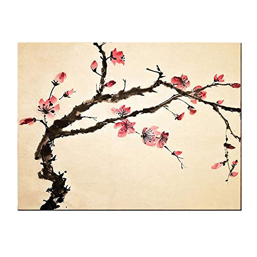SATVSHOP Wall Art painting-60Lx32W-Japan Traditional Chin e Paint Style of Figural Tree with Highly Detail Brushstroke Effects Pink Brown.Self-Adhesive backplane/Detachable Modern Decorative. (Japan Figural)