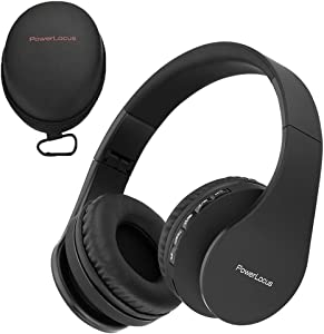 PowerLocus Wireless Bluetooth Over-Ear Stereo Foldable Headphones, Wired Headsets with Built-in Microphone for iPhone, Samsung, LG, iPad (Black)