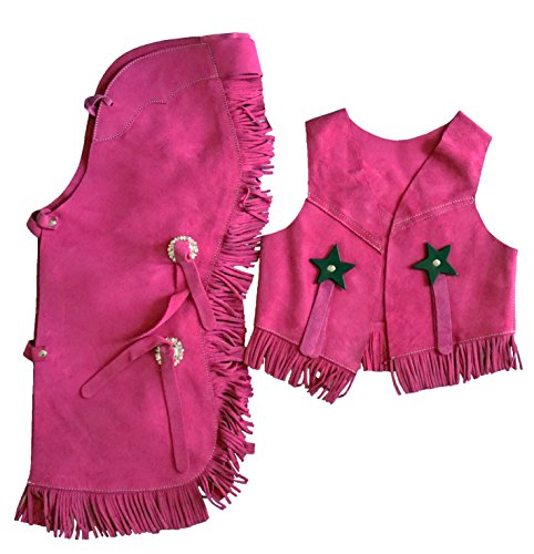 (Equitem Children's Suede Leather Western Chaps and Vest Set (Pink, Medium)
