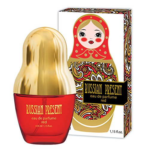 Flower Shaped Perfume Bottle - Russian Present Eau De Parfum Spray for Women (Red) - 1.15 oz, Floral Fruity Scent, Flat Shaped Bottle, Best Gift for Her