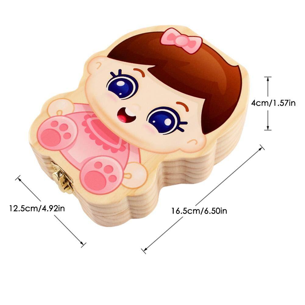 Baby Denti Salva Box Organizer Denti Scatola Deciduo Dente Collezione di Immagazzinaggio Scatola Souvenir Caso per I Bambini in Legno Fatto A Mano Keepsake Durevole