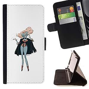 BullDog Case - FOR/Apple Iphone 4 / 4S / - / PINK HAIR SIAMESE TWINS ART PAINTING OUTFIT /- Monedero de cuero de la PU Llevar cubierta de la caja con el ID Credit Card Slots Flip funda de cuer