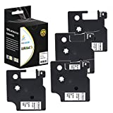Catch Supplies 4 Pack Replacement Dymo D1 45010 Black on Clear 1/2 Inch (12mm) Label Tape - Length 23ft (7m) - For use with the Dymo LabelManager, LabelPoint and LabelWriter Label Printers