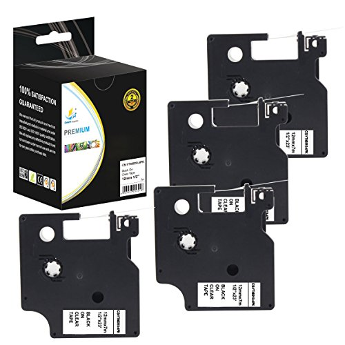Catch Supplies 4 Pack Replacement Dymo D1 45010 Black on Clear 1/2 Inch (12mm) Label Tape - Length 23ft (7m) - For use with the Dymo LabelManager, LabelPoint and LabelWriter Label Printers by Catch Supplies