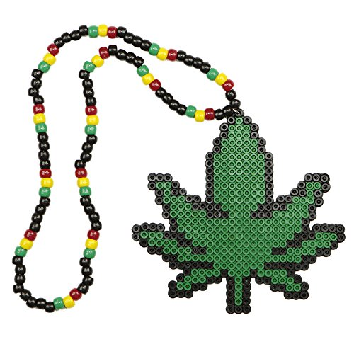 420 Rasta Weed Kandi Necklace, Perler Necklace, Rave Accessories, Beaded Necklaces