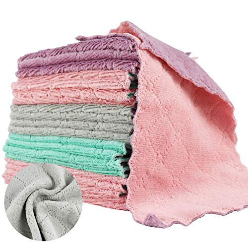 LOKiVE 21 Pack Microfiber Cleaning Cloth,Kitchen Dish Towels,Super Absorbent Coral Velvet Dish Towels for Kitchen Cleaning Glass,Kitchens,Bathrooms,Cars (Multi-Color)