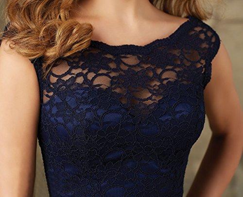 scuro sposa Abito Mall a maniche ad Bridal Blu Senza da linea Donna xwPtqB