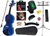 YMC 4/4 Full Size Handcrafted Solid Wood Student Violin Starter Kits (with Hard Case, Bow, Music Stand, Electronic Tuner, Bow Collimator, Shoulder Rest, Mute, Extra Strings, Polish Cloth, Rosin), Blue