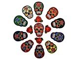 Quality 11 Sugar Skull Patch and 4 Rose Patch Value Set of Detailed Embroidered Iron On/ Sew On Patches for Jeans, Jackets, Bags, Vest, Arts and Crafts