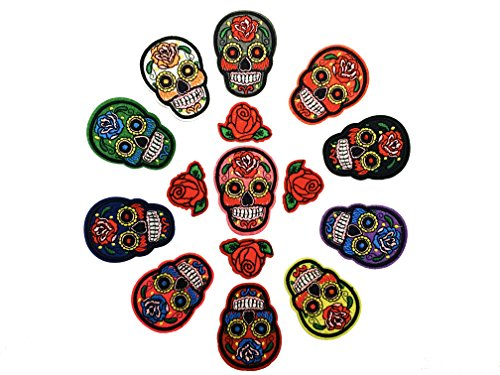 Quality 11 Sugar Skull Patch and 4 Rose Patch Value Set of Detailed Embroidered Iron On/ Sew On Patches for Jeans, Jackets, Bags, Vest, Arts and Crafts by Bright Light Crafts