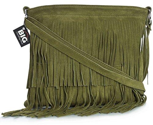 BHBS Bolso de Noche para Dama en Cuero Gamuzado con Flecos en el Frente 32x26 cm (LxA) Verde Oliva (HR281)