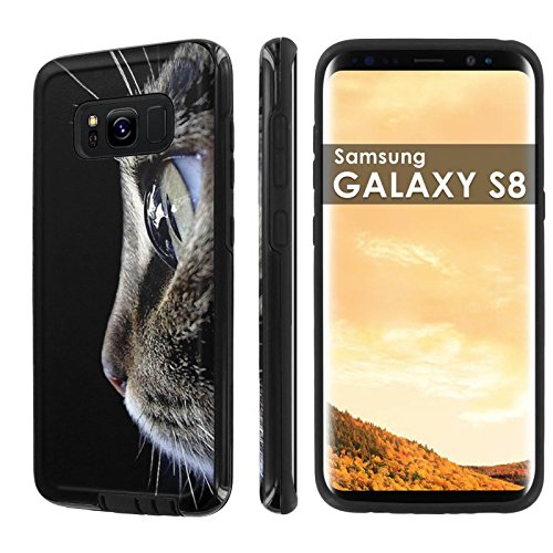 Samsung Galaxy S8 [NakedShield] [Black] DUO Defender Armor Case - [Cat Portrait] for Samsung Galaxy [S8]