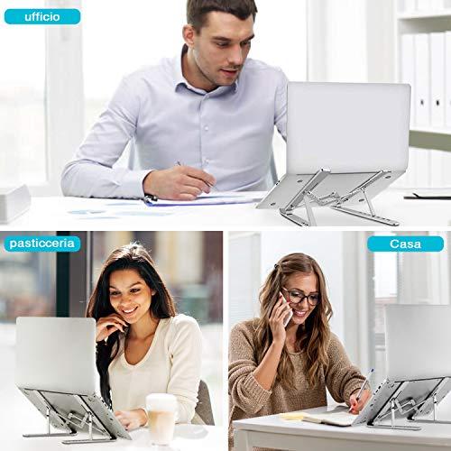 LDesign Supporto PC Portatile, Pieghevole Angolazione Raffreddamento Regolabile Porta PC, Leggero Notebook Supporto per Laptop da Tavolo Regolabile
