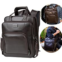 14/15.6 inch Multi-function Convertible Business Laptop Backpack, Slim Leather College School Daypack Office Shoulder Bag Travel Computer Bookbag w/ Handle and Shoulder Strap for Men and Women