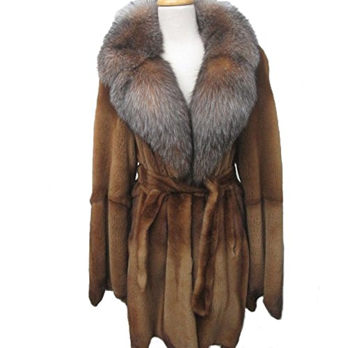 Women's Sz 10/12 Golden Sheared Mink Fur with Crystal Fox Fur Collar