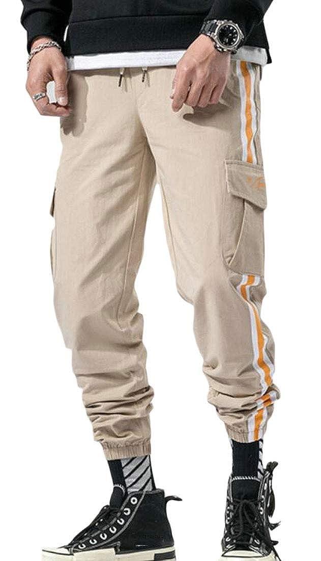 CRYYU Men Side Stripe Casual Elastic Waisted Multi-Pockets Jogger Cargo Pants