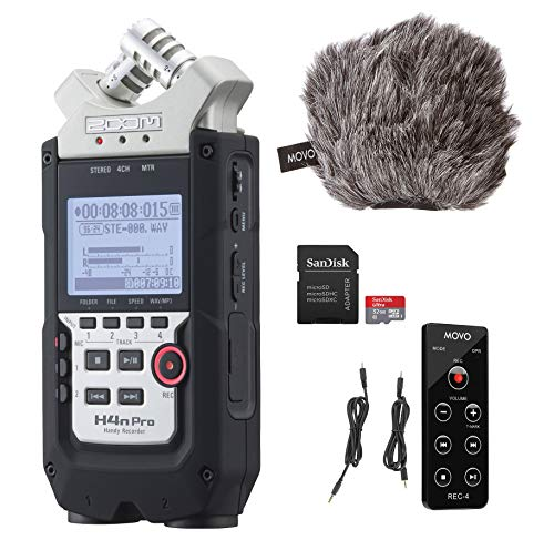 Zoom H4n PRO 4-Channel Handy Recorder with Movo ESSENTIALS Bundle - Includes