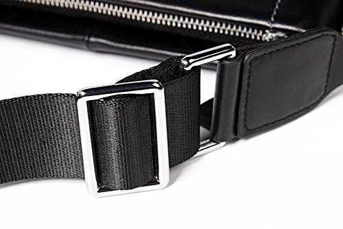 sutura Negro auto estilo hombro Inch Satchel Los solo cremallera bolso napa Surnoy hombres cuero de vertical de 12 rayas de 1PqFvUFAZ