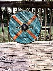 Medieval Authentic Rollo Battleworn Viking Shield Steel Viking Nasal Helmet Hand