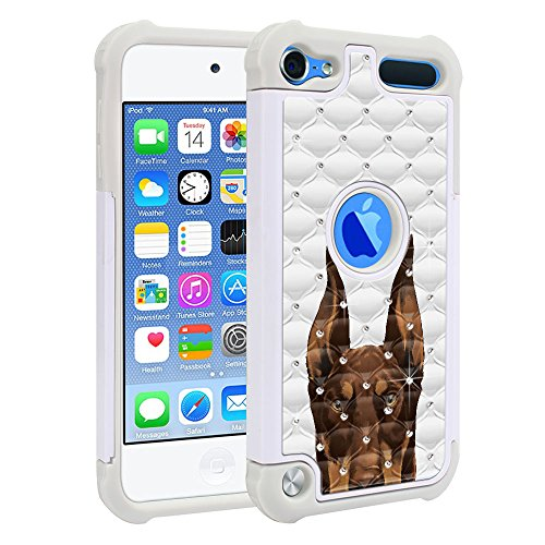FINCIBO iPod Touch 5 6 Case, Dual Layer Shock Proof Hybrid Hard Protector Cover TPU Rhinestone For Apple iPod Touch 5 (5th Generation) iPod Touch 6 - Red Chocolate Doberman Pinscher Dog (Ornaments Red Pinscher)
