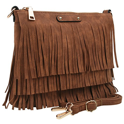 Copi Women Retro Fringe Tassel Clutch HandBag or Shoulder Crossbody Bags Camel