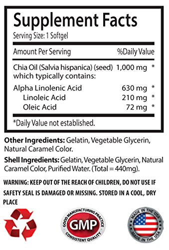 New Chia Seed Oil 2000mg (2 Bottles, 120 Softgels) by Sport Supplements (Image #1)