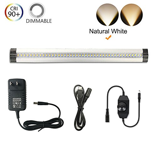 Under Counter Lighting - Ultra Thin, 2 Coin Thickness LED Light Plug-In, Full Range Dimmable with 42 LEDs,Large Area Illuminated, Easy Installation, Natural White 12V/1A 5W/450LM CRI90, All in One Kit