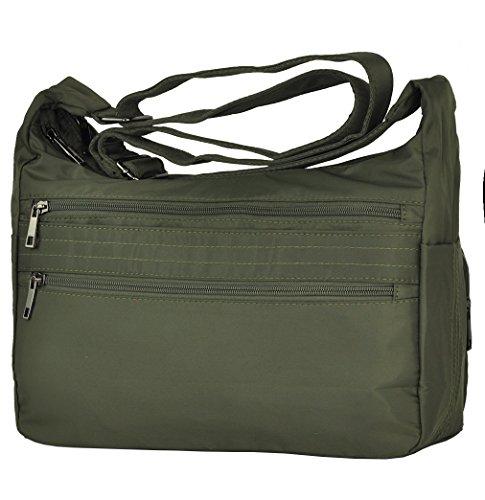 Pocket Waterproof Nylon Handbags Volcanic Bags Rock Messenger Lightweight Army Green large Multi Shoulder Crossbody Bags 0Xwzx4z8qg