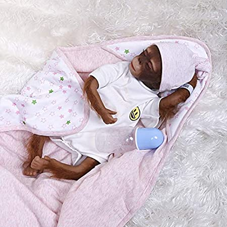 iCradle Reborn Muñecos Bebe Reborn Mono Bebé 18 Pulgadas 45cm Bebe Reborn Silicona Muñeca Mono Bebe Muñeca Parece Realista Precioso Mono de Piel Juguete colección …