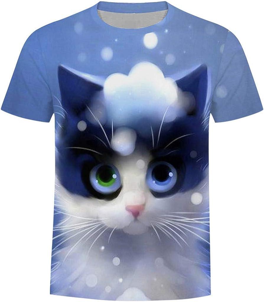 FEDULK Mens Casual Funny T-Shirt Cute Kitty Print Summer Crew Neck Short Sleeve Leisure Tee Tops Blouse