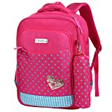 Vbiger School Backpack Bookbag School Bag Casual Outdoor Daypack with Pencil Case for Primary Students (Rosy)