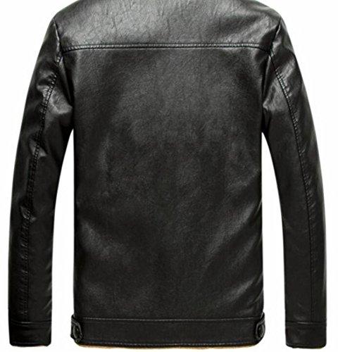 Lamb Thicken today Faux Wool Leather Up PU Black Lapel Zipper Jacket Mens Button UK qqUFtxpP