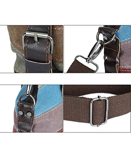 Damen Handtasche, SPRAWL Mädchen Schultasche Leinwand mit Schulterträger, Multi Farbe Streifen Tasche