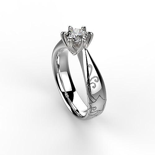 957fe7ffcb4b Anillo solitario Florence oro blanco con diamante Recarlo  Amazon.es   Joyería