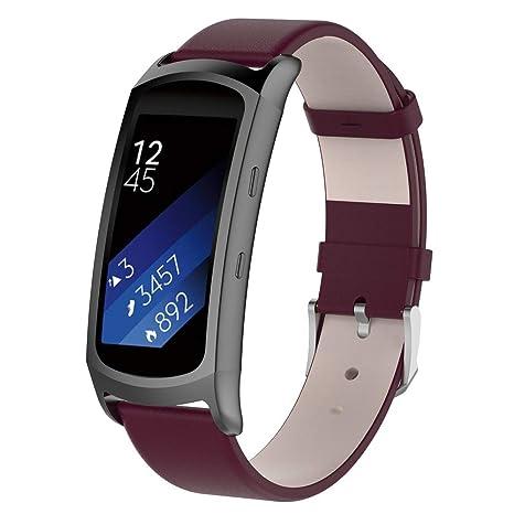 Javpoo Bandes Accessoires Compatible Samsung Gear Fit 2 / Fit 2 Pro, Doux Cuir Sport