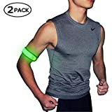 Pack of 2pcs- LED Sports Saftey Flashing Reflective Armband with High Visibility Light up Glow in the Dark Bracelet for Cycling, Jogging, Walking and Running (green)