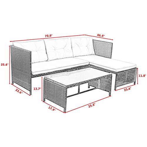 3 PCS Outdoor Rattan Furniture Sofa Set Lounge Chaise Cushioned