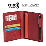 Pagalli Vincente Men Women Unisex Premium Genuine Leather RFID Blocking Pen Boarding Pass Credit Card ID Theft Protector Thin Slim Passport Travel Holder Wallet Wallets, Red