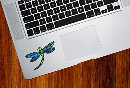 (Dragonfly Design 3 - Stained Glass Style - Vinyl Decal for Laptop | Macbook | Tablet | Trackpad - Copyright © Yadda-Yadda Design Co. (Size and Color Choices) (SMALL, BLUE))